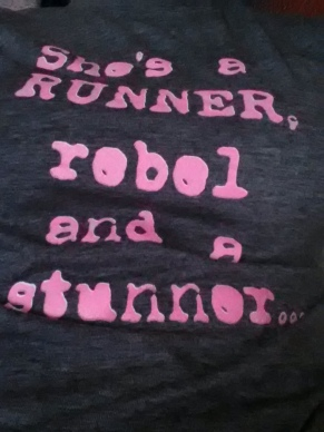 "More like, ""She's a runner, rebel and a junk food eater..."