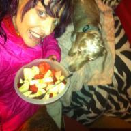 She loves fruit and she definitely loves her Truman. :)