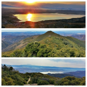 Top: Lake Elsinore at Sunrise. Middle: Looking back at Pinos Peak. Bottom: The view of Lake Elsinore (again) on way in to the Main Divide.