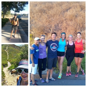 Top Left: Juan Ramirez post-run. Right: OC Coast Runners reunion! Bottom Left: Los Pinos Peak right behind me.