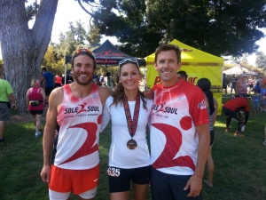 Post-race photo of me with D and the RD, Scott Newton from Sole to Soul.