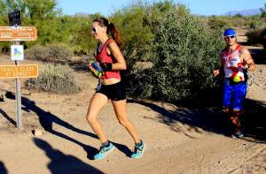 D and I heading into jeadquarters after the first loop. He is my rock and it was this race that brought us together. <3