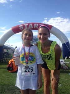 She did it - Triathalon complete for Heaven!